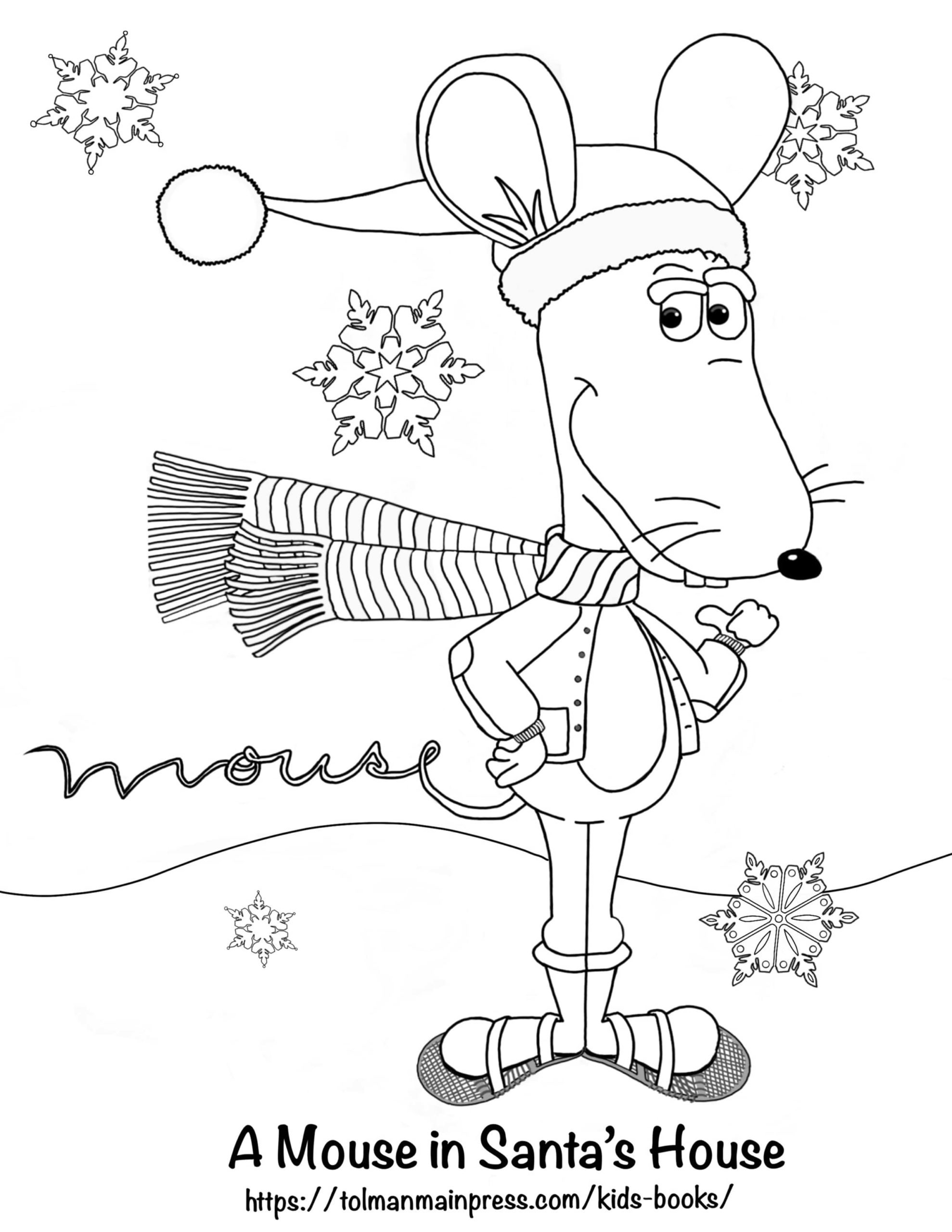 Winter Martin the Mouse Coloring Page - Download Now