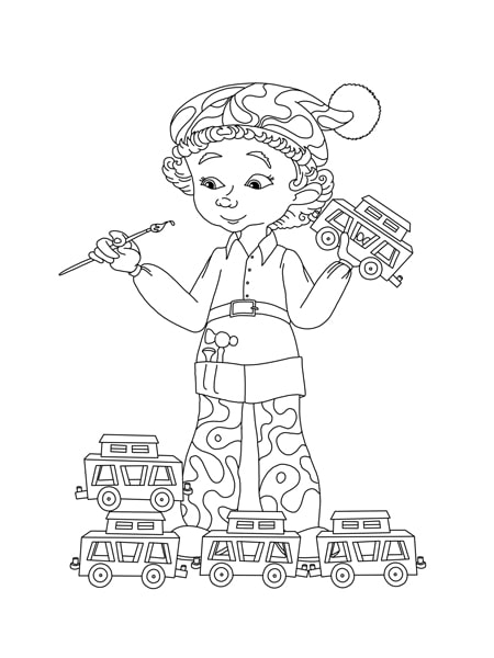 Elf and toys Martin the Mouse Coloring Page
