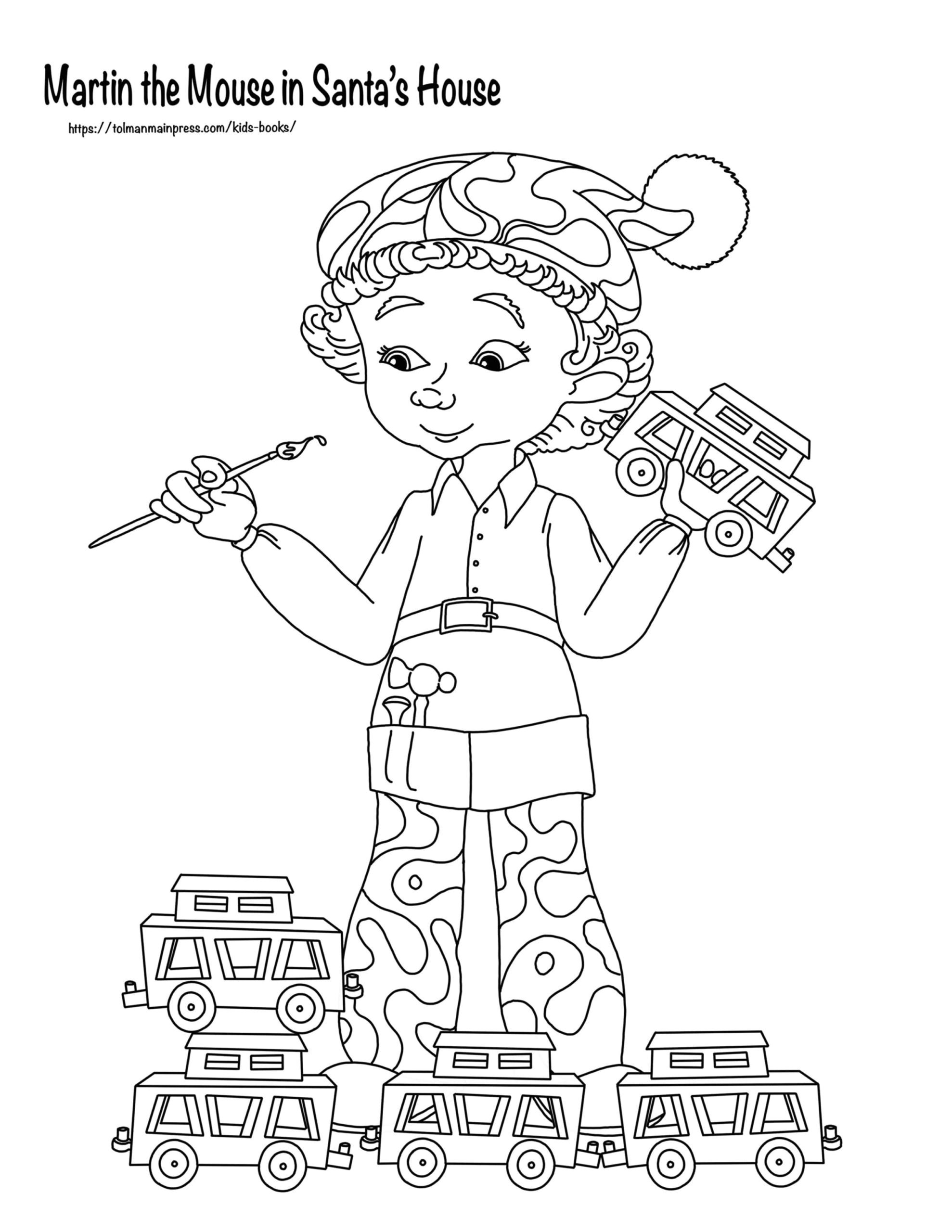 Elf and toys Martin the Mouse Coloring Page - Download Now