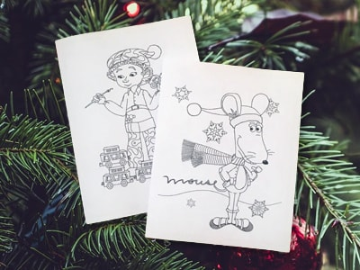 Martin the Mouse December Post - Martin's DIY Holiday Coloring Book Cards