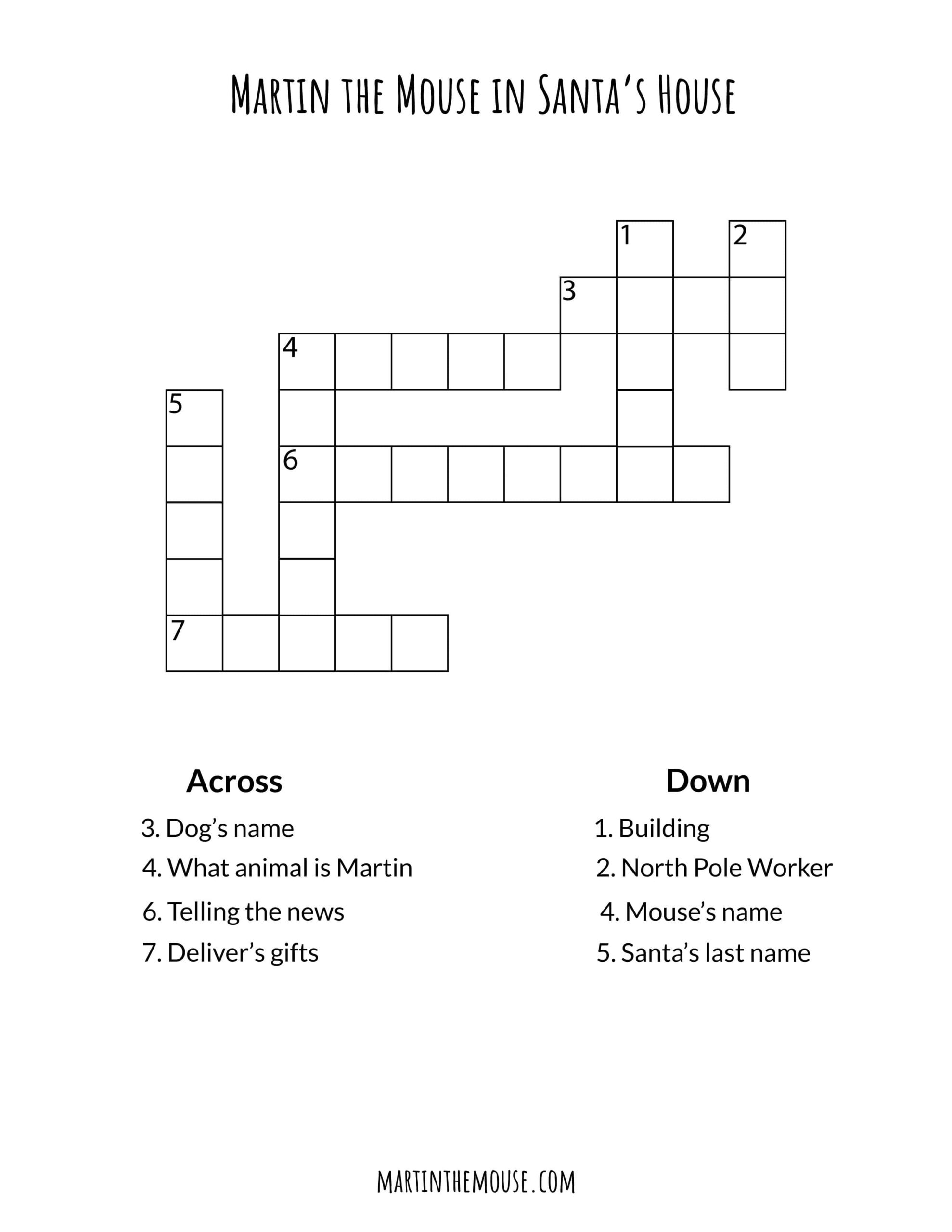 Martin the Mouse in Santa's House Crossword Puzzle